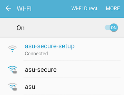 Screenshot of available wireless networks with asu-secure-setup selected