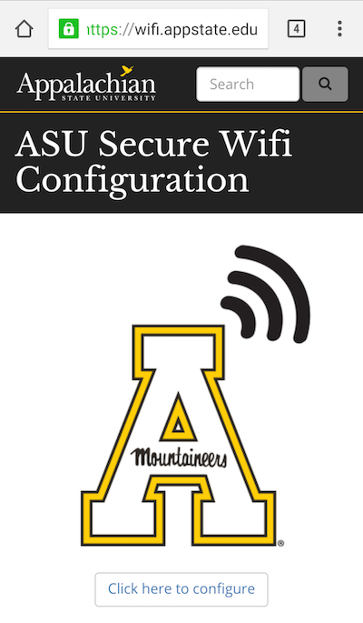 Homepage screenshot of wifi.appstate.edu