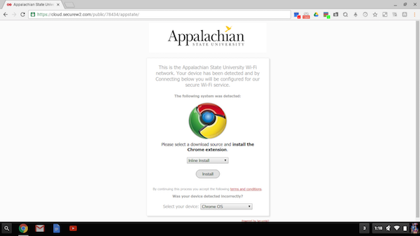 Screenshot showing Install button for the Chrome extension