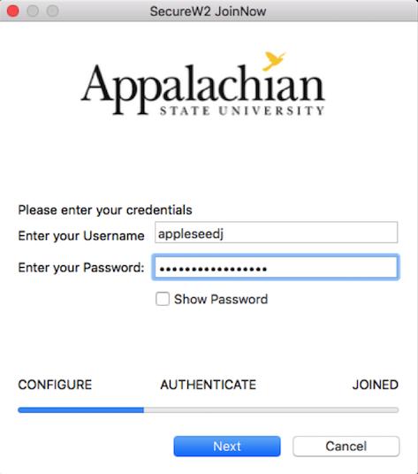 Enter Appstate credentials