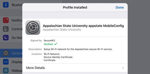 Profile installed - Appalachian State University appstate MobileConfig