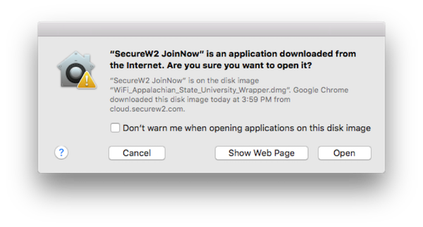 "Screenshot of warning prompt for ""Secure W2 JoinNow"" is an application downloaded from the Internet. Are you sure you want to open it?"