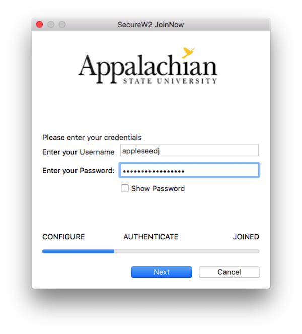 Secure W2 JoinNow login prompt to enter AppState credentials