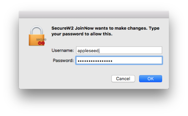 "Screenshot of login prompt with ""Secure W2 JoinNow wants to make changes. Type your password to allow this."""